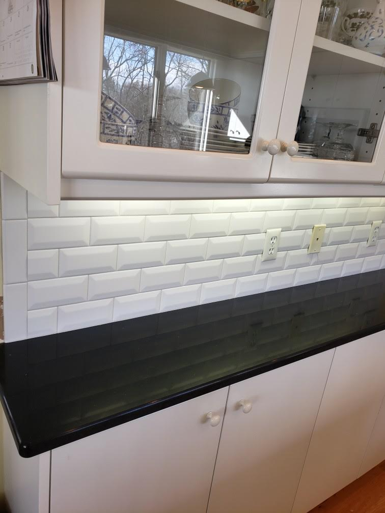 White Beveled Subway Tile Backsplash Rockbridge Flooring